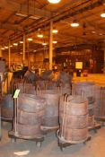 Lot of Metal Stackable Baskets with wheel bases
