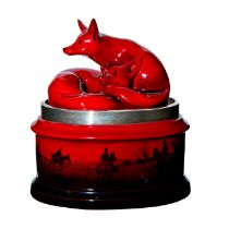 Royal Doulton Flambe Tobacco Jar, Hunting Scene