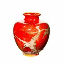 Royal Doulton Harry Nixon Flambe Vase, Kingfishers