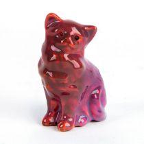 Rare Bernard Moore Flambe Mini Figurine, Cat with Glass Eyes