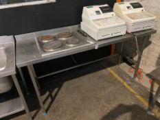 STAINLESS STEEL COUNTER WITH BUILT IN ELECTRIC HOB