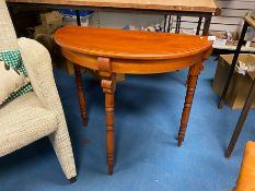 NICE STAINED PINE HALF MOON TABLE