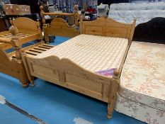 """4'6"""" DOUBLE PINE BED WITH MATTRESS"""
