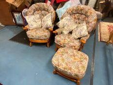2 PINE CUSHIONED CONSERVATORY CHAIRS AND FOOTSTOOL
