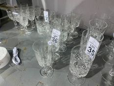 5 CUT GLASS SHERRY GLASSES