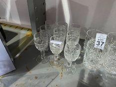 9 CUT GLASS SHERRY GLASSES