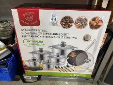 20PC ROYAL SWISS STAINLESS STEEL PAN SET NEW