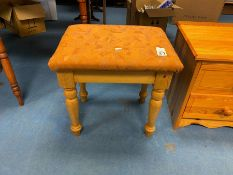 FABRIC TOPPED PINE DRESSING TABLE STOOL