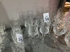 6 CUT GLASS WINE GLASSES