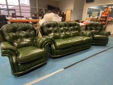 BUTTONED CUSHION CLEAN GREEN LEATHER 3 PIECE SUITE (3-1-1)