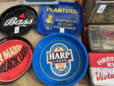 PLANTER'S PEANUTS AND HARP LAGER METAL BAR TRAYS