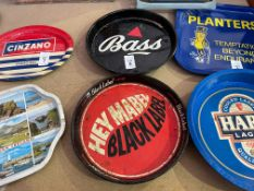 BLACK LABEL AND BASS METAL BAR TRAYS