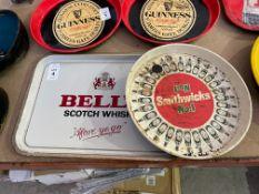 TIN BELL'S SCOTCH WHISKEY AND SMITHWICKS BAR TRAYS