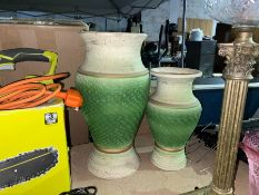LOT OF 2 GREEN POTTERY VASES