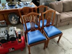4X PIERCED SPLAT BACK PINE DINING CHAIRS WITH BLUE PADDED SEATS