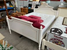 UNIQUE WHITE FRAMED KING BED WITH CLEAN MATTRESS (FEW MARKS/SCUFFS)
