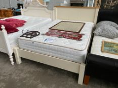 PINE CREAM DOUBLE BED WITH EXCEPTIONALLY CLEAN POCKET SPRUNG MATTRESS