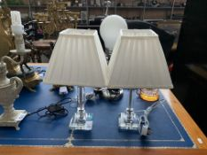 PAIR OF CLEAR TABLE LAMPS W/ PLEATED WHITE SHADES