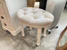 UNIQUE WHITE FABRIC BEDROOM STOOL