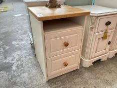 CREAM/PINE 2 DRAWER BEDSIDE LOCKER