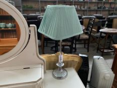 TABLE LAMP WITH MINT COLOURED SHADE