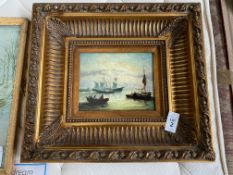 SHIP PRINT WITH CARVERS & GILDERS, ENGLAND HEAVY GILT FRAME