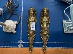 2X BRASS LADY FIGURINE WALL HANGINGS