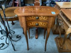 INLAID KIDNEY SHAPED 2-DRAWER TABLE