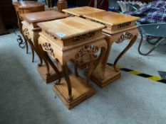 PAIR OF PINE CARVED SIDE TABLES