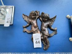2X METAL CHERUB WALL HANGINGS