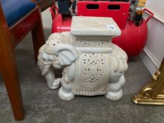 WHITE GLAZED ELEPHANT POT STAND