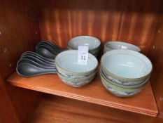 9X CHINESE SOUP/RICE BOWLS & SPOONS