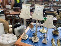 PAIR OF DECORATIVE TABLE LAMPS WITH STITCHED/BEADED SHADES