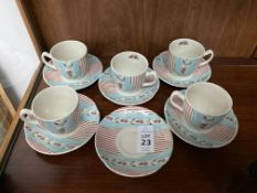 11PC JOHNSON BROS FARMHOUSE CHIC SILKY STRIPE TEASET