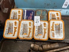 8X VINTAGE TOBACCO TINS FILLED WITH NAILS