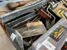 OLD TOOLBOX WITH ASSORTED TOOLS