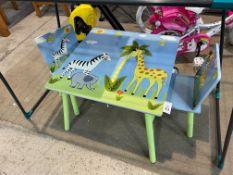 SAFARI THEMED KIDS TABLE & 2X CHAIRS