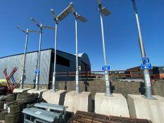 PORTABLE SOLAR POWER LED STREET LIGHT ON CONCRETE BASE (HAMMER VAT ON THIS ITEM)