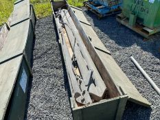 EX-ARMY GALVANIZED GRIPPER/SPREAD BARS IN WOODEN CRATE (HAMMER VAT ON THIS ITEM)