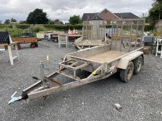 INDESPENSION TWIN AXLE PLANT TRAILER WITH RAMP (8.2FT X 4.2FT) (HAMMER VAT ON THIS ITEM)