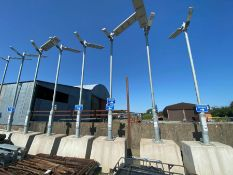 PORTABLE SOLAR POWER LED STREET LIGHT ON CONCRETE BASE (WORKING) (HAMMER VAT ON THIS ITEM)