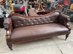 ANTIQUE VICTORIAN STYLE FAUX LEATHER COUCH
