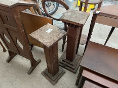 PAIR OF OLD WOODEN POT STANDS