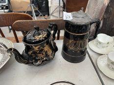 2X BLACK/GOLD TEA & COFFEE JUGS