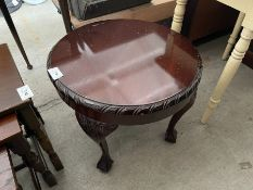 ROUND MAHOGANY CLAW FOOT COFFEE TABLE