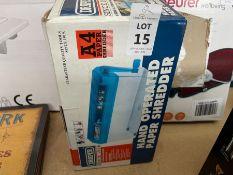 DRAPER HAND OPERATED PAPER SHREDDER