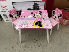 DISNEY MINNIE MOUSE KIDS TABLE & 2X CHAIRS