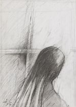 Woman at the Window, (19)94 Graphite on paper Signed and dated lower left 16,9 x 12 in