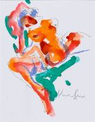 Abstract Sitting Nude in Orange and Green, around 1991 Mixed technique (felt pen, ink and chalk)