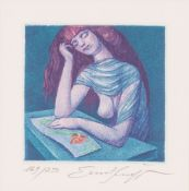 The Love-Letter Colored etching, partly by hand Signed and numbered: 169/250 Sheet Size: 12,8 x 11,8